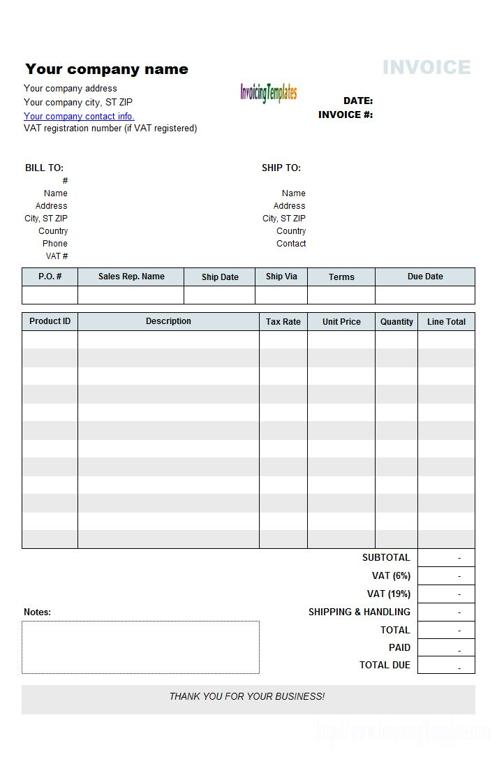 Free Purchase Invoice Templates