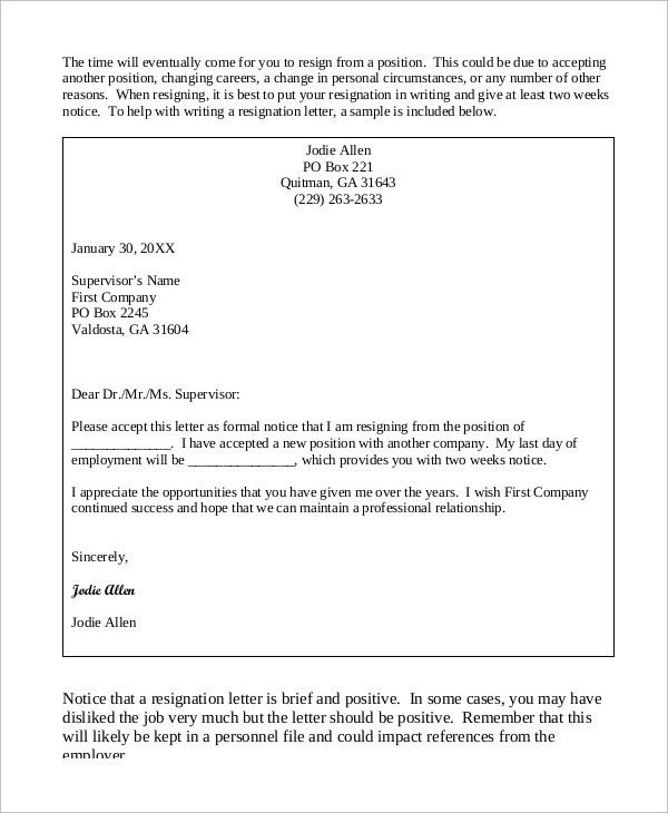 Sample of Resignation Letter - 8+ Examples in Word, PDF