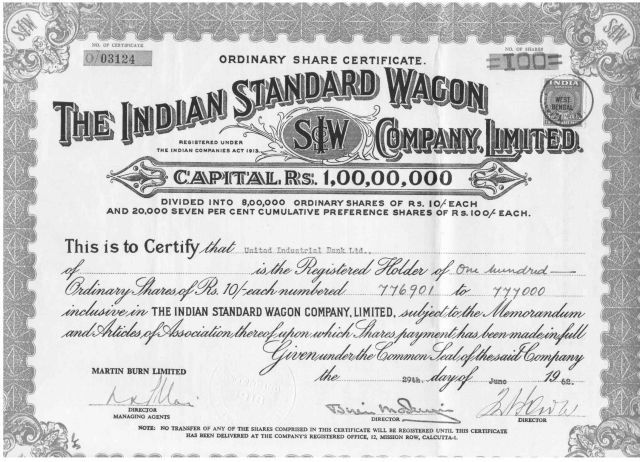 Images of Share certificates of Old Indian Companies ...