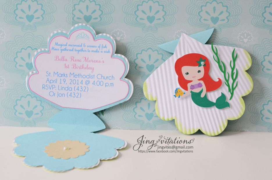 Baby Shower Seashell Invitations With Princess. Invitations ...