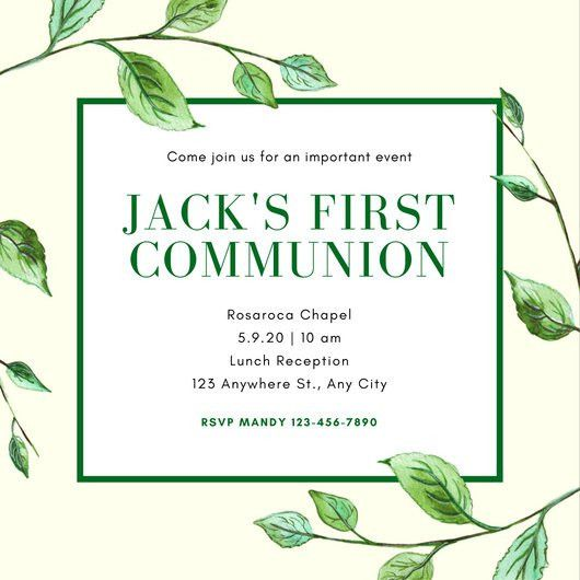 Green Leaves Illustration Formal Boy First Communion Invitation ...