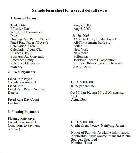 Term Sheet Template  Term Sheet Template Free Word Pdf Documents