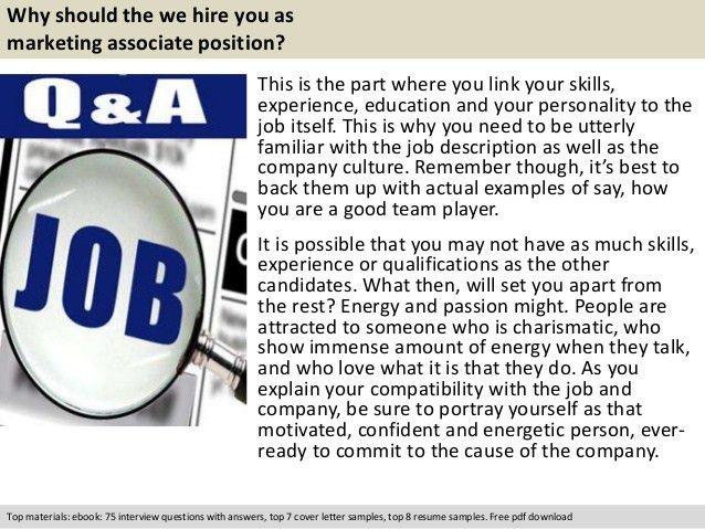 Marketing associate interview questions