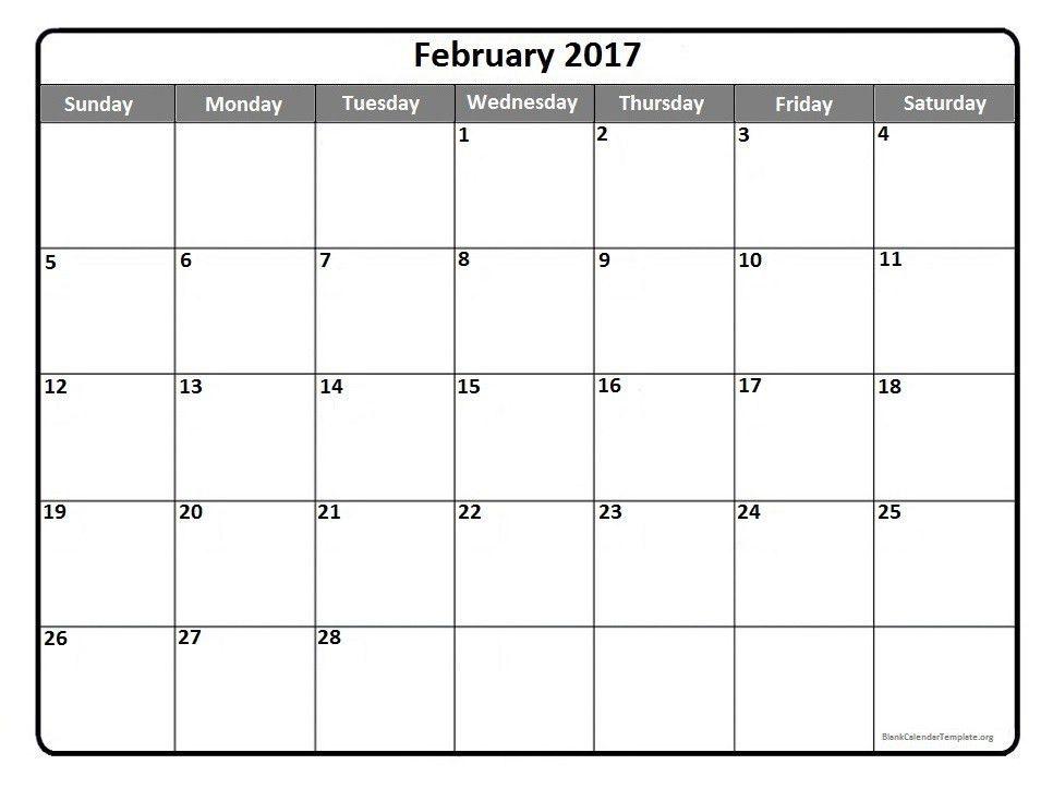 February Blank Calendar Templates Printable 2017