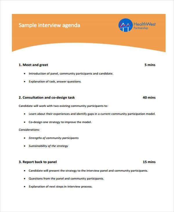 Interview Agenda Format - 9+ Free Sample, Example Format Download ...