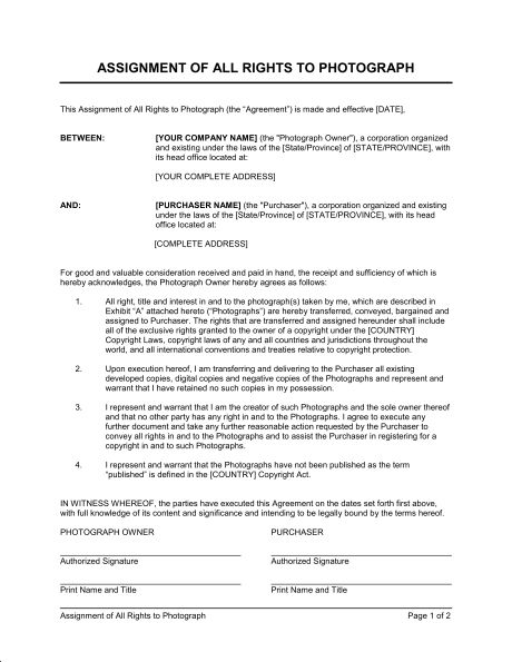 Assignment of All Rights to Photograph - Template & Sample Form ...