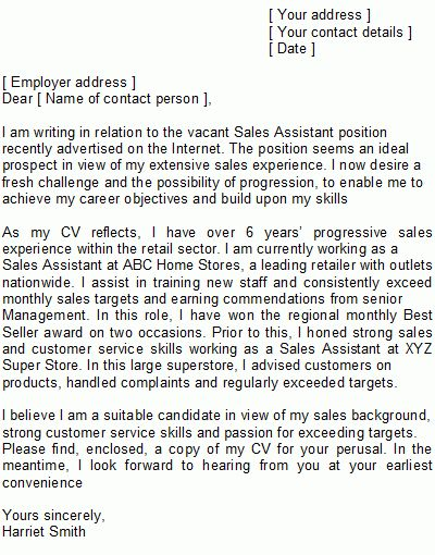 retail sales associate cover letter template Retail Sales Cover ...