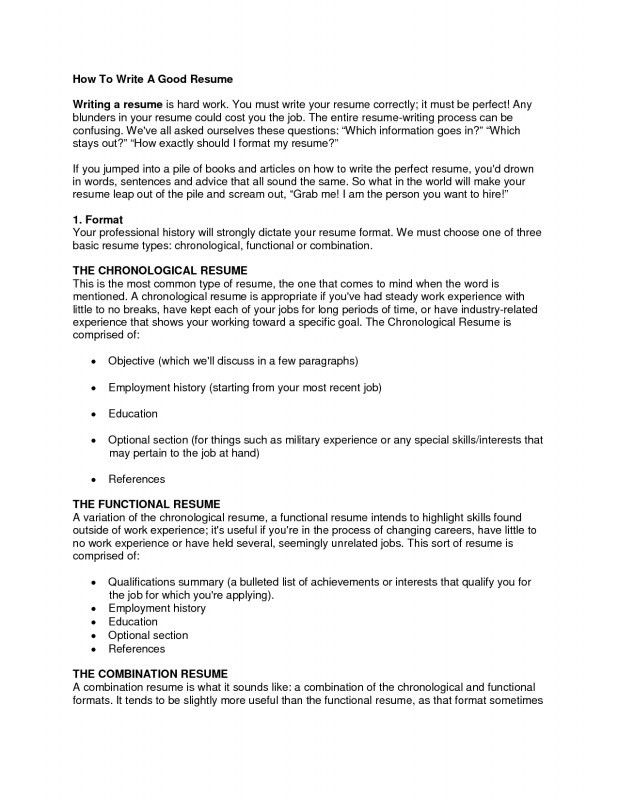 Good Resume Format Examples. Resume Format Examples For Job ...