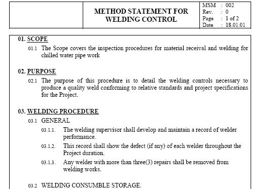 WELDING CONTROL - Method Statement