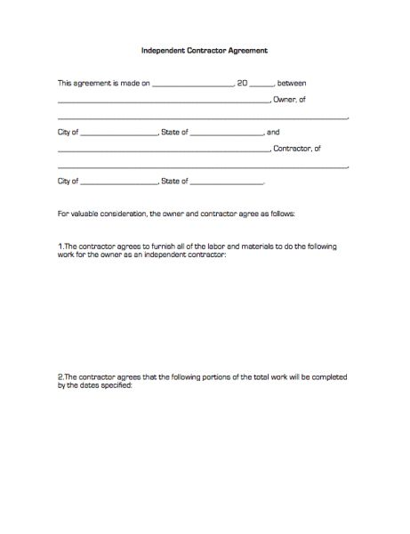 Independent Contractor Agreement | Business Forms