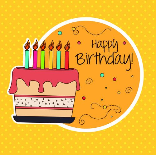 Cartoon style Happy Birthday greeting card template 01 - Vector ...