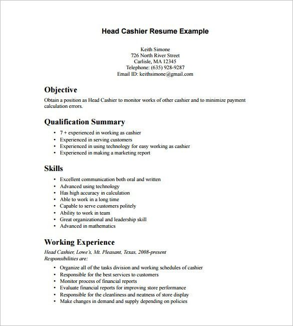 Cashier Resume Template – 16+ Free Samples, Examples, Format ...
