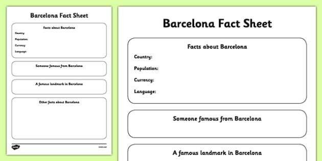 Barcelona Fact Sheet Writing Template - barcelona, fact sheet