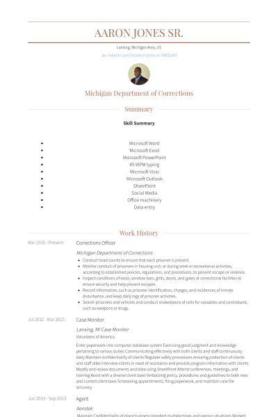 Corrections Officer Resume samples - VisualCV resume samples database