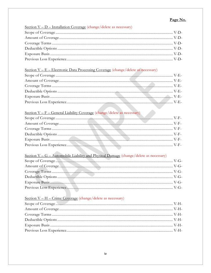 Insurance Proposal Template. Contractors Proposal Form Template .