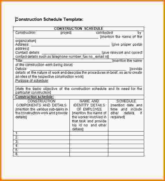 Construction Schedules Templates.construction Schedule Template ...