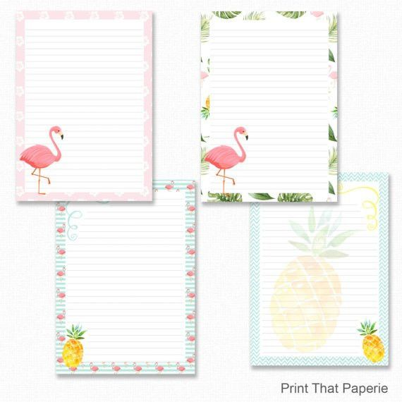 Flamingo Printable Writing Paper Stationary Paper Letter