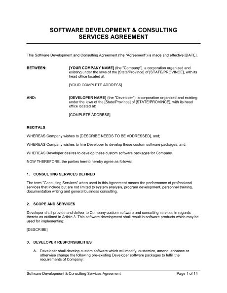Software Development and Consulting Services Agreement - Template ...