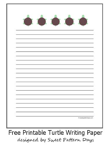 Cute Turtles Lined Writing Paper - A4 | Stationery Printables ...