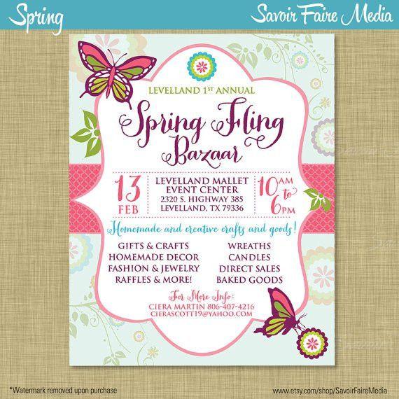 Spring Bazaar Fling Craft Market Expo Invitation Poster / Template ...