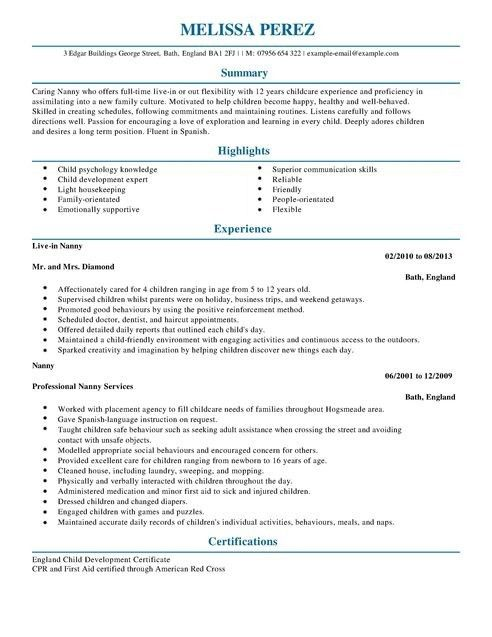 how to write nanny resume 3. sample resume nanny resume cv cover ...