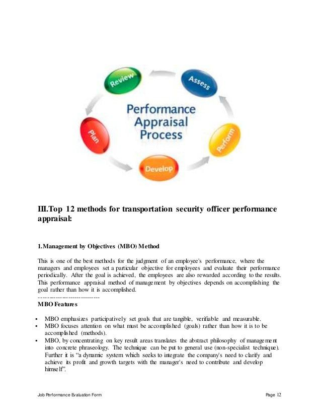 Transportation security officer performance appraisal