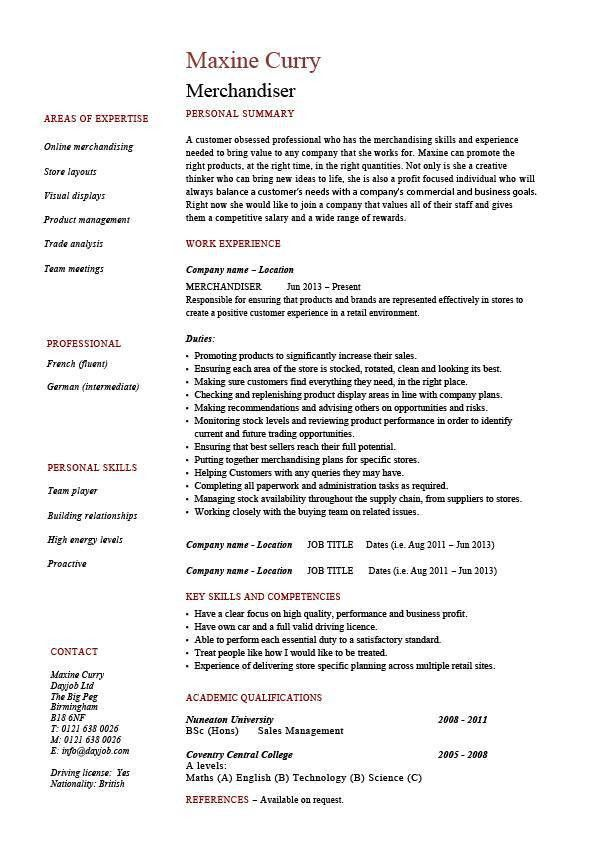 Merchandiser resume, example, sample, visual, marketing, looking ...
