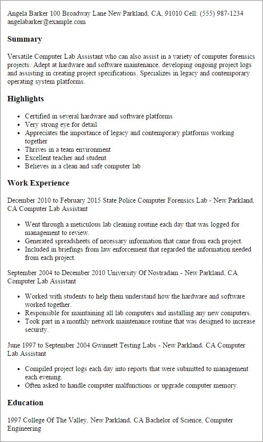 computer lab assistant resume