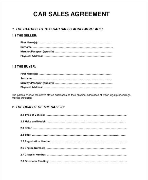 Vehicle Sale Agreement Template 6 Free Sales Agreement Templates