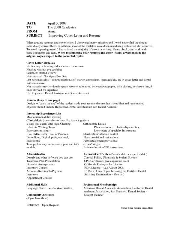 Excellent Improving Cover Letter Mistakes for Dental Assistant ...