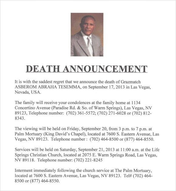Sample Death Notice - 14+ Documents in PDF, PSD, WORD