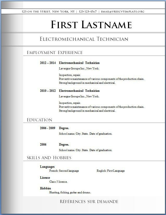 libreoffice resume template