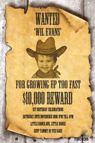 Kids Wanted Poster Party Invitations Wanted Sign Birthday party ...