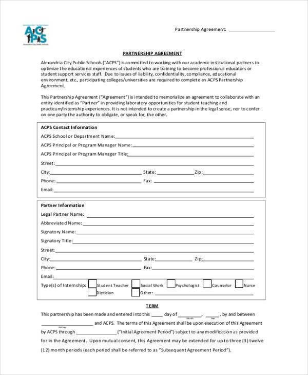11+ Partnership Agreement Form Samples - Free Sample, Example ...