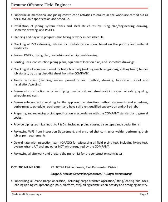 Astonishing Piping Field Engineer Sample Resume Creative - Resume ...