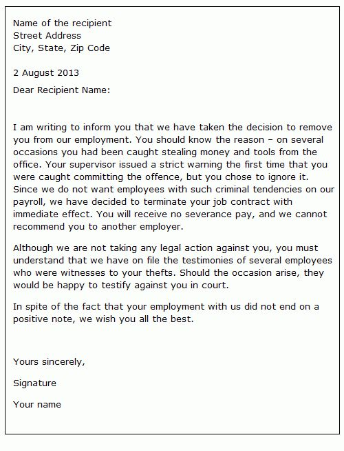 Dismissing an employee for unacceptable behaviour   sample letter