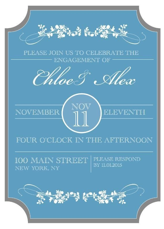 Print - Sophisticated Engagement Party Free Printable Invitation