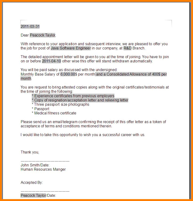 Job offer email sample sample thank you email the job offer susan 6 job offer sample template ledger paper yadclub Image collections