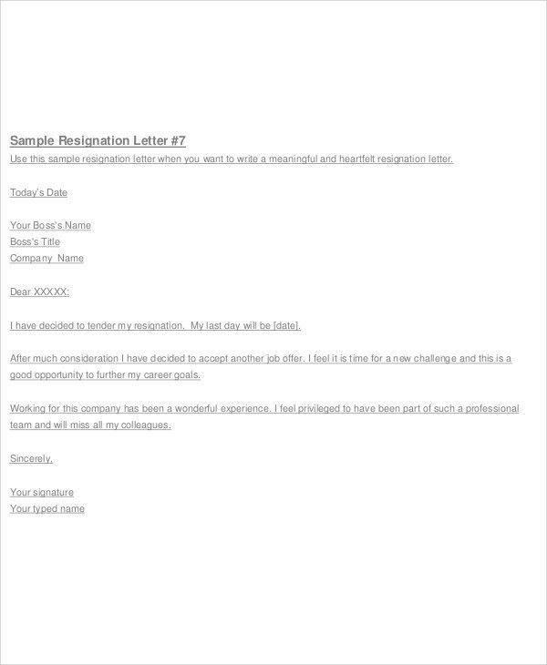 Heartfelt Resignation Letters - 8+ Free Sample, Example Format ...