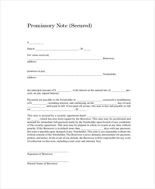 Sample Promissory Note - 7+ Documents in PDF, Word