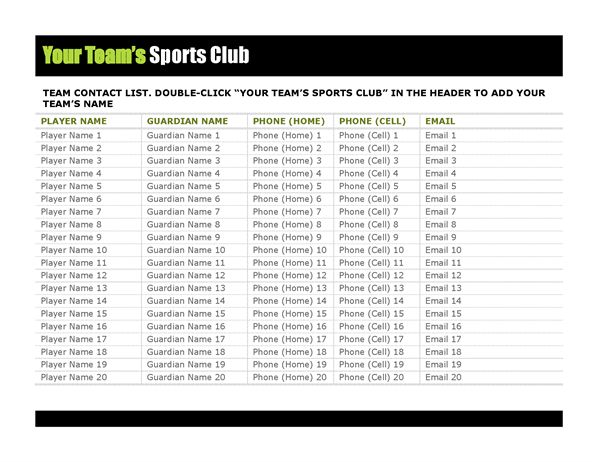Contact list for youth sports - Office Templates