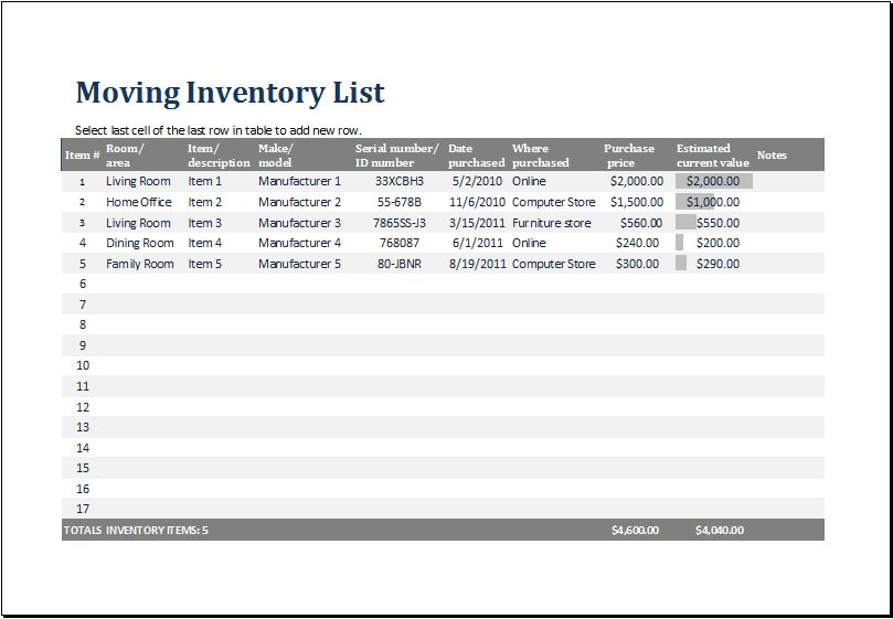 MS Excel Printable Moving Inventory List Template | Excel Templates