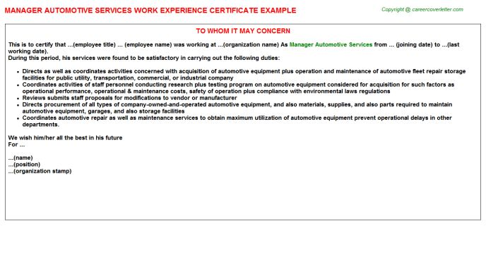 Experienced Automotive Service Advisor Work Experience Letters