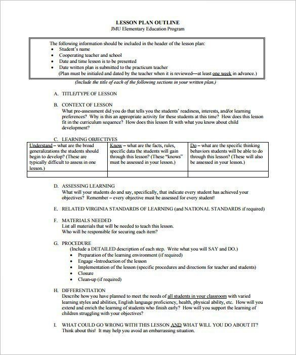 Lesson Plan Outline Template – 12+ Free Sample, Example, Format ...