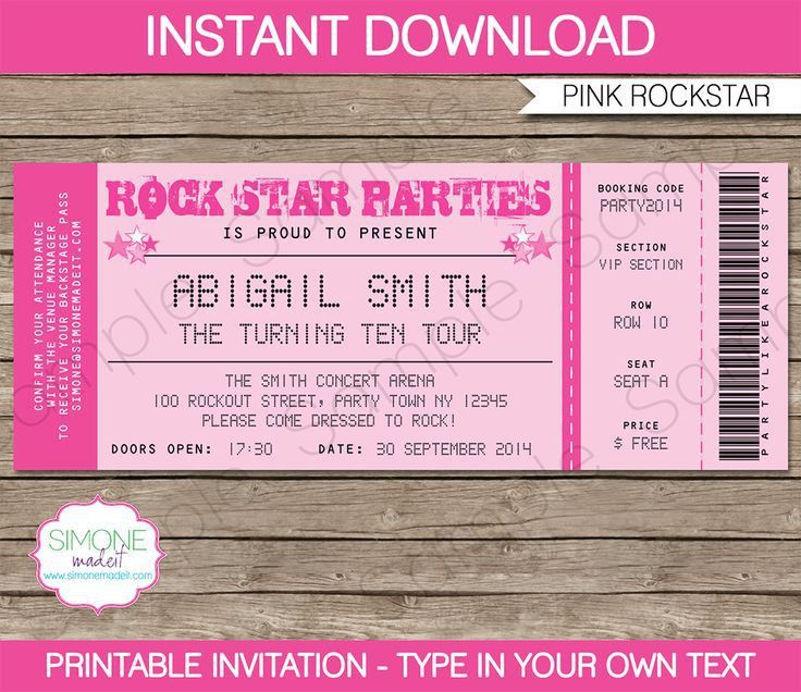 Rockstar Birthday Party Ticket Invitations Template – pink | Party ...