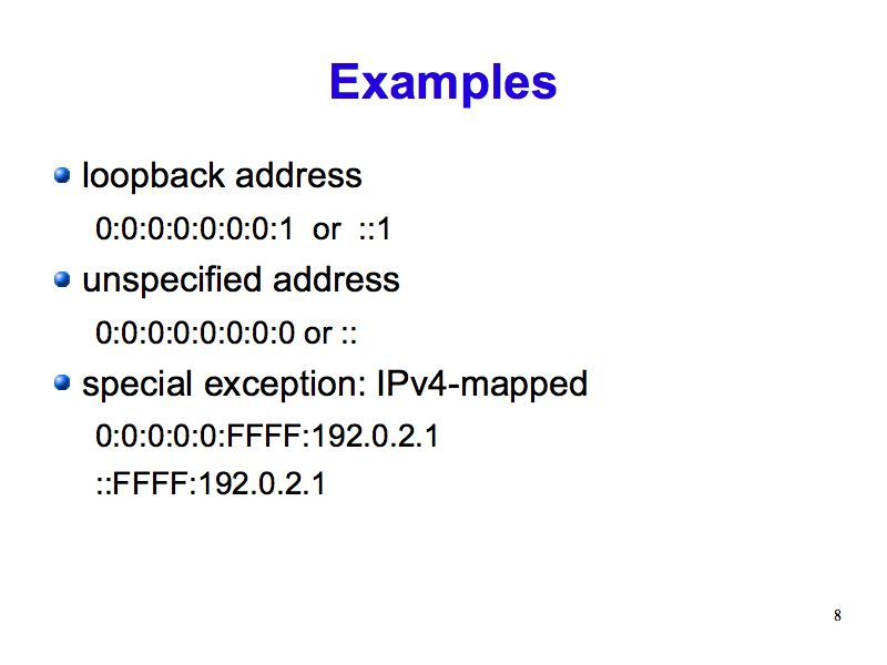 IPv6 Address Examples (IPv6: What, Why, How - Slide 8)