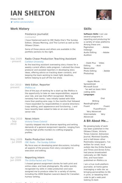 Freelance Journalist Resume samples - VisualCV resume samples database