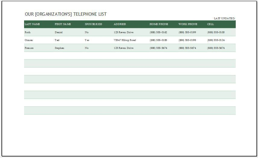 Phone List Template Address And Phone List Office Templates – Excel Phone List Template