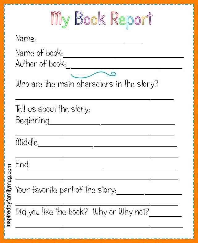 Printable Book Report Forms - cv01.billybullock.us