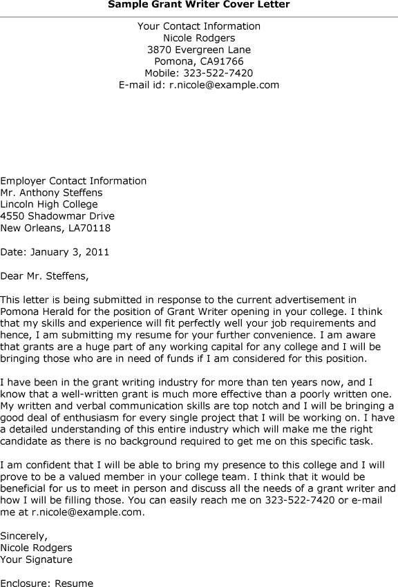 cover letter grant request cover letter sample cover letter for - Grant Proposal Cover Letter